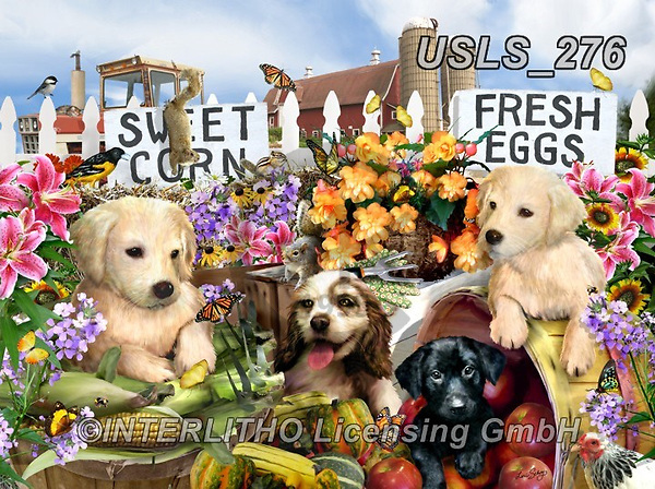 Lori, REALISTIC ANIMALS, REALISTISCHE TIERE, ANIMALES REALISTICOS, zeich, paintings+++++Puppies On The Farm_72,USLS276,#a#, EVERYDAY ,puzzle,puzzles