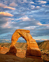 Delicate Arch at sunset. Arches National Park. Utah.