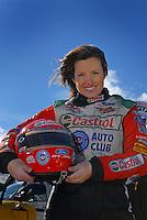 Portrait of NHRA Funny Car driver Ashley Force during preseason testing at The Strip at Las Vegas Motor Speedway in Las Vegas, NV. Mandatory Credit: Mark J. Rebilas