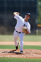 GCL Yankees East relief pitcher Blakely Brown (24) delivers a pitch during a game against the GCL Blue Jays on August 2, 2018 at Yankee Complex in Tampa, Florida.  GCL Yankees East defeated GCL Blue Jays 5-4.  (Mike Janes/Four Seam Images)