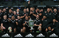 The All Blacks with the Bledisloe Cup after the Bledisloe Cup rugby match between the New Zealand All Blacks and Australia Wallabies at Eden Park in Auckland, New Zealand on Saturday, 14 August 2021. Photo: Simon Watts / lintottphoto.co.nz / bwmedia.co.nz