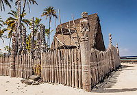 Hale o Keawe, a rebuilt temple with ki'i at Pu'uhonua o Honaunau National Historical Park, Big Island.