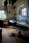 Loggers Barracks at Duncan BC, British Columbia Forestry Museum.  Underwear, cots, and desk.