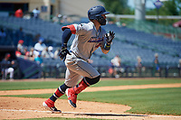 Jacksonville Jumbo Shrimp John Silviano (22) runs to first base during a Southern League game against the Mississippi Braves on May 5, 2019 at Trustmark Park in Pearl, Mississippi.  Mississippi defeated Jacksonville 1-0 in ten innings.  (Mike Janes/Four Seam Images)