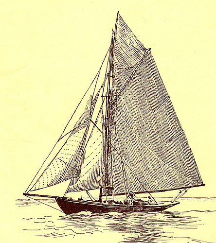 A Billy McBride sketch of Espanola, the 15-ton cutter owned by Herbert Wright, founding Commodore in 1929 of the Irish Cruising Club