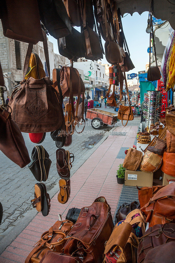 Essaouira, Morocco.  Avenue de l'Istiqlal Seen from a Leather Goods Shop.