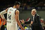Real Madrid´s Gustavo Ayon and Pablo Laso during 2014-15 Euroleague Basketball match between Real Madrid and Anadolu Efes at Palacio de los Deportes stadium in Madrid, Spain. December 18, 2014. (ALTERPHOTOS/Luis Fernandez)