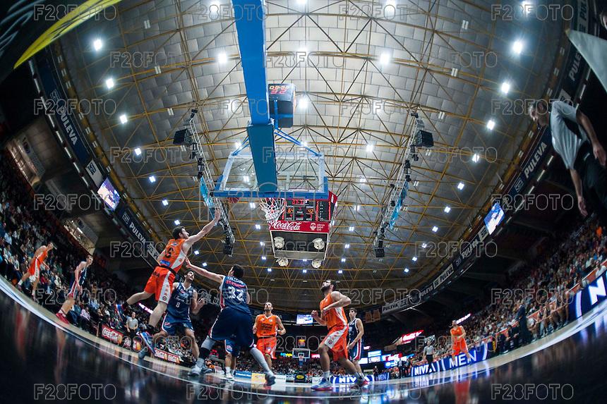 VALENCIA, SPAIN - OCTOBER 31:  during ENDESA LEAGUE match between Valencia Basket Club and Rio Natura Monbus Obradoiro at Fonteta Stadium on   October 31, 2015 in Valencia, Spain
