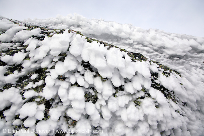 Appalachian Trail - Rime ice covers the summit of Mount Garfield during the winter months in the White Mountains, New Hampshire USA