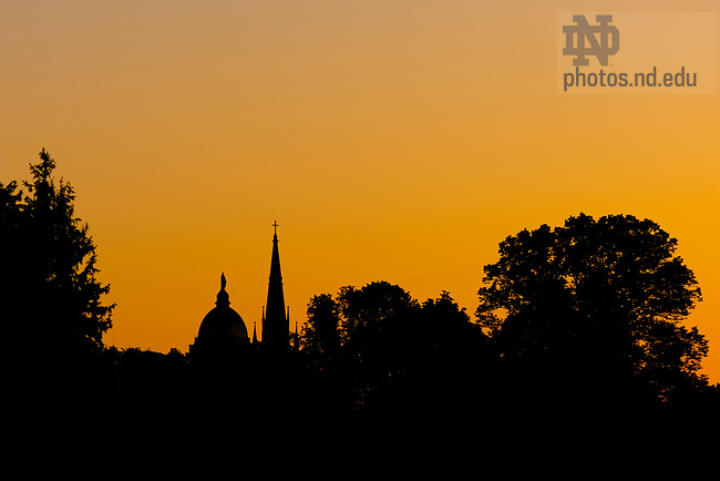 May 31, 2020; Dome and Basilica silhouetted at sunrise (Photo by Matt Cashore/University of Notre Dame)