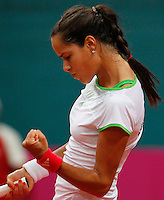 Serbia's player Ana Ivanovic react during the match against Slovakia's player Daniela Hantuchova, during the World Group play-off Fed Cup match in Bratislava, Slovakia, Saturday, Apr. 16, 2011. (Srdjan Stevanovic/Starsportphoto ©).