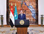 Egyptian President Abdel-Fattah al-Sisi speaks during the celebration of Africa Day, in Cairo, Egypt, on May 25, 2019. Photo by Egyptian President Office