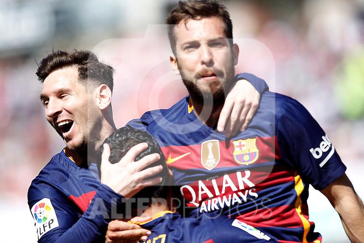 FC Barcelona's Leo Messi, Luis Suarez and Jordi Alba celebrate goal during La Liga match. May 14,2016. (ALTERPHOTOS/Acero)