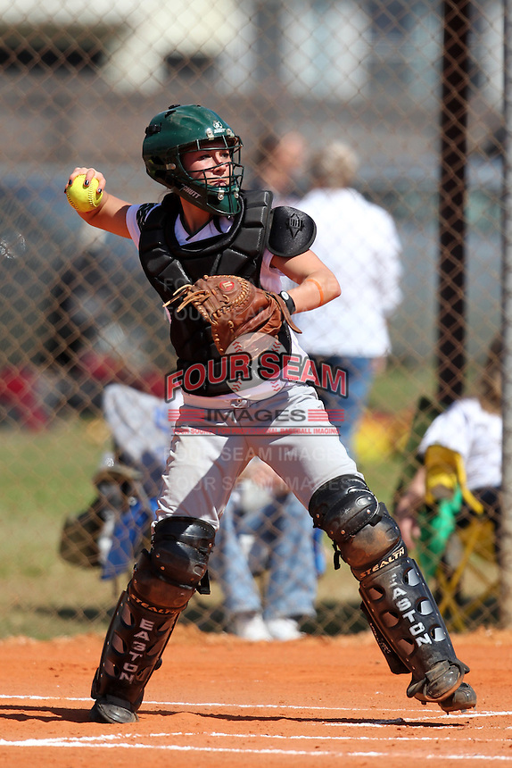 Slippery Rock catcher Karra White #10 during a game against Lees-McRae College at Oren Brown Field on March 7, 2011 in Kissimmee, Florida.  Slippery Rock defeated Lees-McRae 9-6.  (Mike Janes/Four Seam Images)