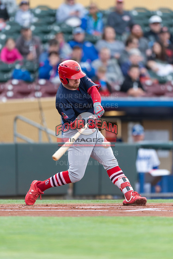 Memphis Redbirds first baseman John Nogowski (40) during a Pacific Coast League game against the Omaha Storm Chasers on April 26, 2019 at Werner Park in Omaha, Nebraska. Memphis defeated Omaha 7-3. (Zachary Lucy/Four Seam Images)