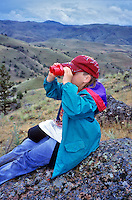 Fifth grade student viewing scene at Hancock Field Station. Oregon.