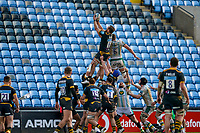 6th February 2021; Ricoh Arena, Coventry, West Midlands, England; English Premiership Rugby, Wasps versus Northampton Saints; Brad Shields of Wasps catches the ball just ahead of Nick Isiekwe of Northampton Saints