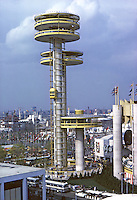 New York State Pavilion, World's Fair, 1964. The NY State Pavillion featured three observation towers, the tallest at 226 ft. was the highest structure at the Fair. High speed elevators carried visitors to the observation platform above.