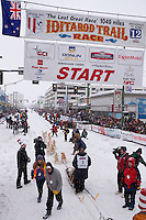 March 3, 2012   Jim Lanier leaves the start line of the Ceremonial Start of Iditarod 2012 in Anchorage, Alaska.