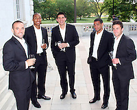 Brandon Barklage, Jordan Graye, Andrew Quinn, Barry Rice and Stephen King of DC United at a reception for AC Milan at DAR Constitution Hall in Washington DC on May 24 2010.