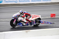 Jun 5, 2015; Englishtown, NJ, USA; NHRA pro stock motorcycle rider Hector Arana Sr during qualifying for the Summernationals at Old Bridge Township Raceway Park. Mandatory Credit: Mark J. Rebilas-