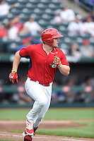 ***Temporary Unedited Reference File***Springfield Cardinals designated hitter Luke Voit (18) during a game against the Northwest Arkansas Naturals on April 27, 2016 at Hammons Field in Springfield, Missouri.  Springfield defeated Northwest Arkansas 8-1.  (Mike Janes/Four Seam Images)
