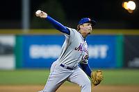 Kingsport Mets relief pitcher Gregorix Estevez (45) in action against the Burlington Royals at Burlington Athletic Stadium on July 18, 2016 in Burlington, North Carolina.  The Royals defeated the Mets 8-2.  (Brian Westerholt/Four Seam Images)