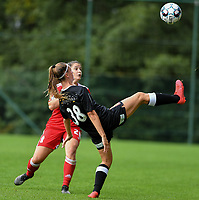 Constance Brackman (20) of Standard  and Rebecca Degenaers (38) of Eendracht Aalst in action during a female soccer game between Standard Femina de Liege and Eendracht Aalst dames on the fourth matchday in the 2021 - 2022 season of the Belgian Scooore Womens Super League , Saturday 11 th of September 2021  in Angleur , Belgium . PHOTO SPORTPIX | BERNARD GILLET