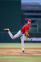 AZL Angels starting pitcher Wilkel Hernandez (38) follows through on his delivery against the AZL Diamondbacks on August 20, 2017 at Diablo Stadium in Tempe, Arizona. AZL Angels defeated the AZL Diamondbacks 19-1. (Zachary Lucy/Four Seam Images)