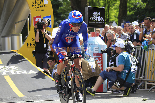American National Champion David Zabriskie (USA) Garmin-Sharp powers down the start ramp of the Prologue of the 99th edition of the Tour de France 2012, a 6.4km individual time trial starting in Parc d'Avroy, Liege, Belgium. 30th June 2012.<br /> (Photo by Eoin Clarke/NEWSFILE)