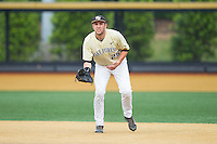 Wake Forest Demon Deacons first baseman Matt Conway (25) on defense against the Virginia Cavaliers at Wake Forest Baseball Park on May 17, 2014 in Winston-Salem, North Carolina.  The Demon Deacons defeated the Cavaliers 4-3.  (Brian Westerholt/Four Seam Images)