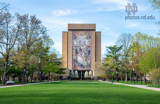 April 23, 2019; Hesburgh Library in the spring. (Photo by Barbara Johnston/University of Notre Dame)