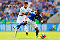 11th September 2021; King Power Stadium, Leicester, Leicestershire, England;  Premier League Football, Leicester City versus Manchester City; Ademola Lookman holds off Joao Cancelo of Manchester City