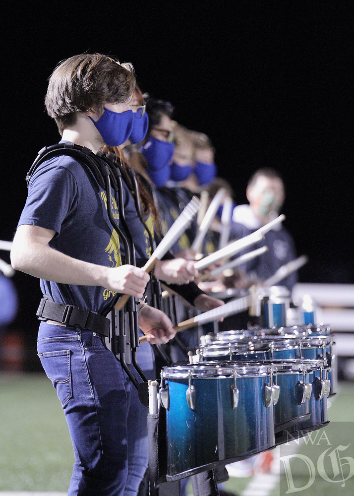 Har-Ber Wildcats drumline perform before the first round play-off game against the Fort Smith Northside Grizzlies Friday, November 13, 2020, at Wildcat Stadium, Springdale, Arkansas (Special to NWA Democrat-Gazette/Brent Soule)