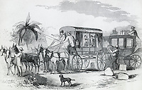 """Changing Stagecoach For Celerity Wagon On The """"Overland Mail"""" 1858 Artist Unknown"""