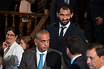 "President of the FEB, Jose Luis Saez and Spanish basketball player Jorge Garbajosa attends to the ceremony of the ""Camino Real"" award to NBA spanish basketball player Pau Gasol at Alcala de Henares University in Madrid, July 15. 2015.<br />  (ALTERPHOTOS/BorjaB.Hojas)"