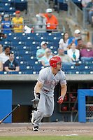 Louisville Bats outfielder Kyle Waldrop (11) at bat during a game against the Norfolk Tides at Harbor Park on April 26, 2016 in Norfolk, Virginia. Louisville defeated defeated Norfolk 7-2. (Robert Gurganus/Four Seam Images)