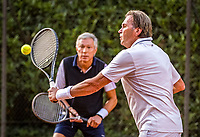 Hilversum, The Netherlands,  August 20, 2021,  Tulip Tennis Center, NKS, National Senior Tennis Championships, Men's Doubles 60+,  Theo Gorter (NED) (R) and Rolf Thung (NED)<br /> Photo: Tennisimages/Henk Koster