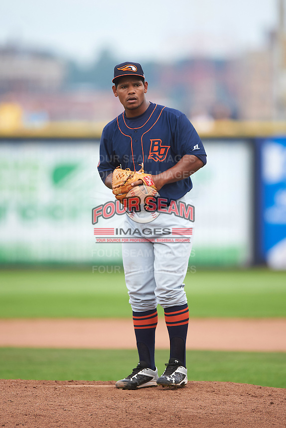 Bowing Green Hot Rods relief pitcher Fernando Baez (28) during a game against the Quad Cities River Bandits on July 24, 2016 at Modern Woodmen Park in Davenport, Iowa.  Quad Cities defeated Bowling Green 6-5.  (Mike Janes/Four Seam Images)