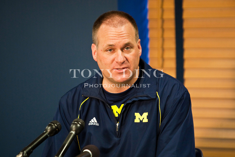 Michigan head coach Rich Rodriguez answers question from the media in a press conference on the first day of spring football practices, Tuesday, March 16, 2010, in Ann Arbor, Mich. The NCAA has found that Michigan's storied football program was out of compliance with practice time rules under Rodriguez. Michigan will appear at an NCAA hearing on infractions in August. (AP Photo/Tony Ding)