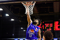 Dion Prewster of the Wellington Saints dunks the ball during the NBL match between the Wellington Saints and the Auckland Huskies at TSB Bank Arena, Wellington, New Zealand on Friday 28 May 2021.<br /> Photo by Masanori Udagawa. <br /> www.photowellington.photoshelter.com