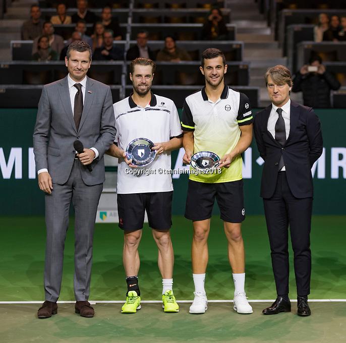 Rotterdam, The Netherlands, 18 Februari, 2018, ABNAMRO World Tennis Tournament, Ahoy, Doubles final, Runners up: Oliver Marach (AUT) / Mate Pavic (CRO)<br /> <br /> Photo: www.tennisimages.com