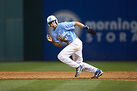 Cody Roberts (11) of the North Carolina Tar Heels hustles to second base against the South Carolina Gamecocks at BB&T BallPark on April 3, 2018 in Charlotte, North Carolina. The Tar Heels defeated the Gamecocks 11-3. (Brian Westerholt/Four Seam Images)