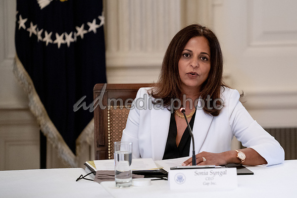 Sonia Syngal, CEO, Gap Inc., makes remarks during a roundtable discussion with industry leaders on reopening the American economy in the State Dining Room of the White House in Washington, DC on May 29, 2020. <br /> Credit: Erin Schaff / Pool via CNP/AdMedia