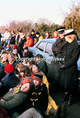 Greenham, Berkshire. 1983 <br /> The Greenham Common Women's Peace Camp, protesters blockade the USAR base. The Peace Camp was started in 1981 to protest at the government allowing nuclear weapons to be stored at the American air base. By 1983 its peaceful protests were making headlines across the world.