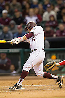 Texas A&M Aggie catcher Troy Stein #6 swings against the Houston Cougars in the NCAA baseball game on March 1st, 2013 at Minute Maid Park in Houston, Texas. Houston defeated Texas A&M 7-6. (Andrew Woolley/Four Seam Images).