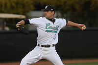 Cody Wheeler #5 of the Coastal Carolina University Chanticleers pitching against  the University of San Diego Toreros  at Watson Stadium at Vrooman Field in Conway,, SC on March 26, 2010. Photo by Robert Gurganus/Four Seam Images