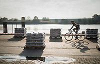 Corné Van Kessel (NED/Telenet-Fidea) next to the Rupel river during the Elite Men's course recon <br /> <br /> Soudal Jaarmarktcross Niel 2016