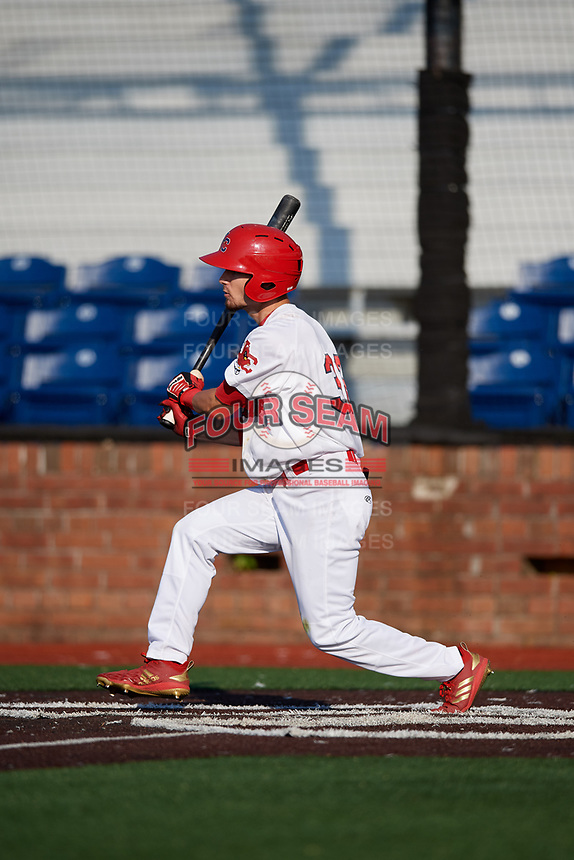 Johnson City Cardinals right fielder Brandon Riley (32) hits a single during a game against the Danville Braves on July 29, 2018 at TVA Credit Union Ballpark in Johnson City, Tennessee.  Johnson City defeated Danville 8-1.  (Mike Janes/Four Seam Images)