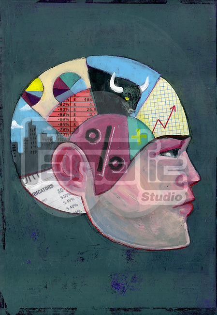 Illustrative image of man with money minded brain representing economical thinking